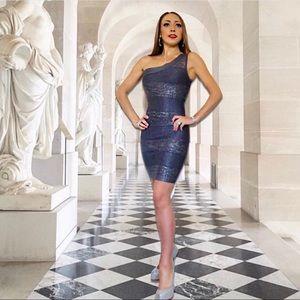BEBE One Shoulder Grey and Silver Bandage Dress